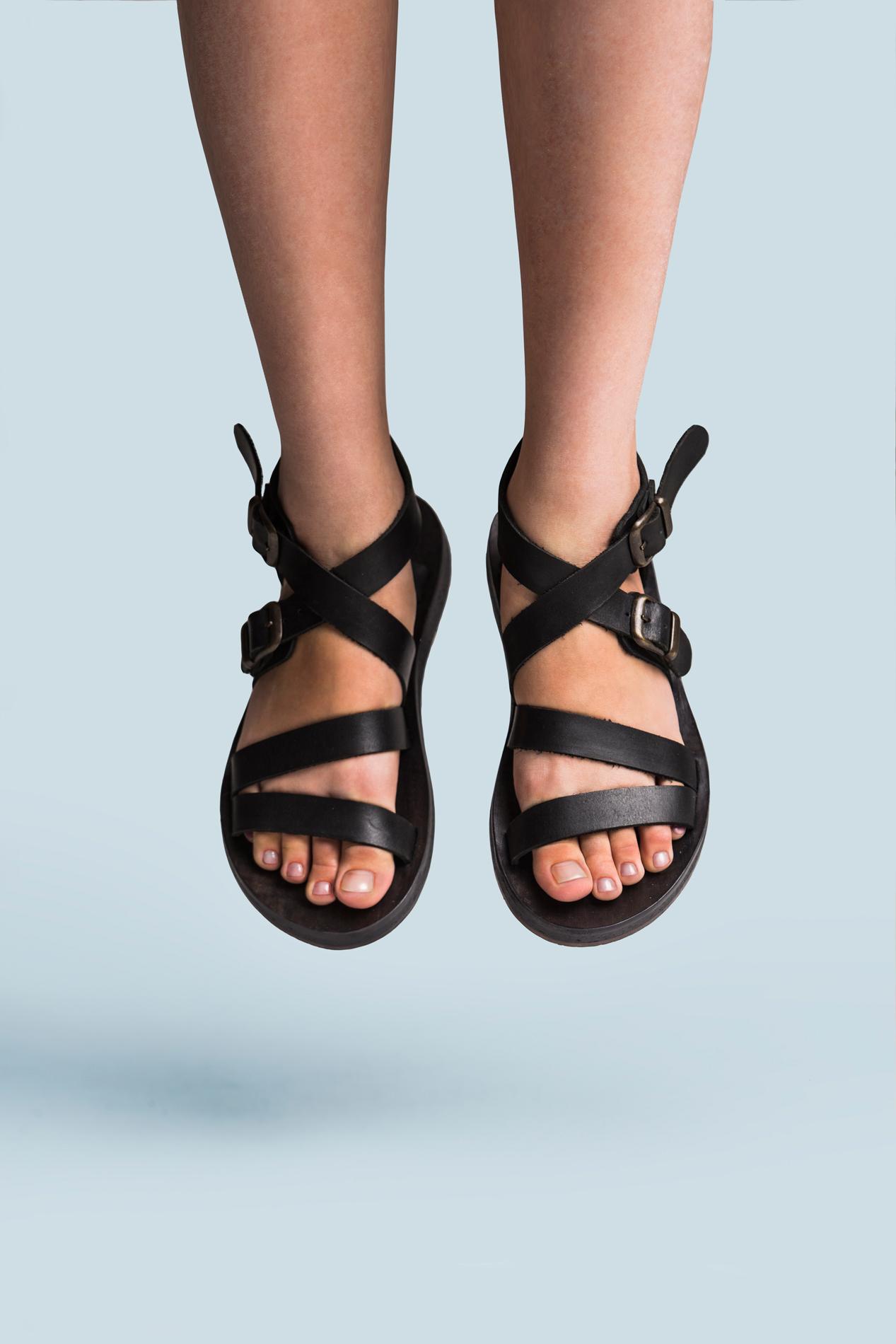 Black leather sandals on sale